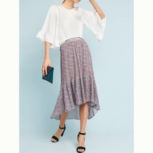 Anthropologie Flowered and Pleated Midi Skirt